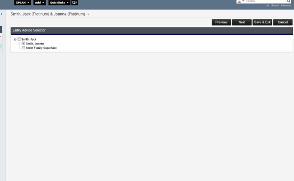 Xplan Entity selector a barren and empty page.
